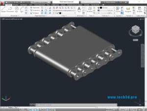 3D модель цепи приводной роликовой многорядной
