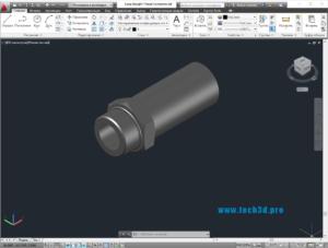 3D модель разъема с длинной резьбой