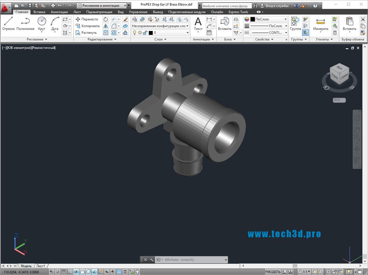 3D модель трубного отвода с креплением