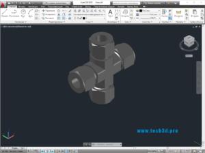 3D модель штуцера-крестовины