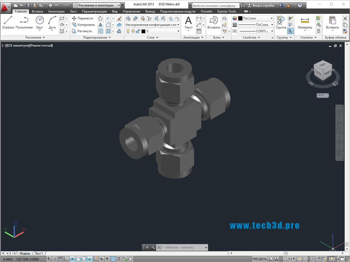 3D модель крестовины c метрической резьбой