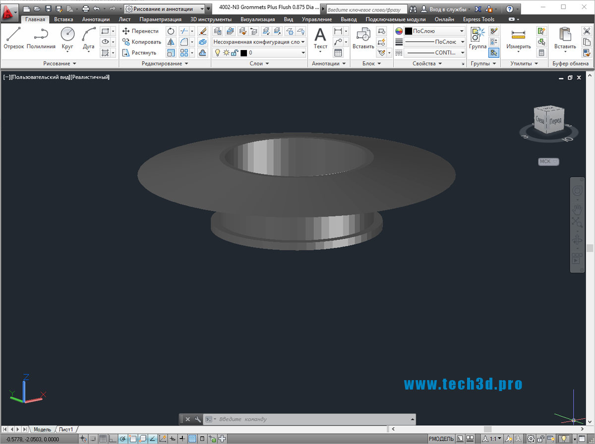 3D модель фланца воздуховода круглого