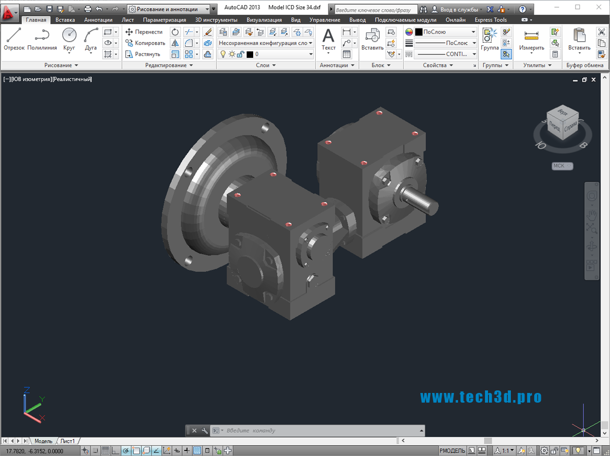 3D модель червячного редуктора двухстороннего