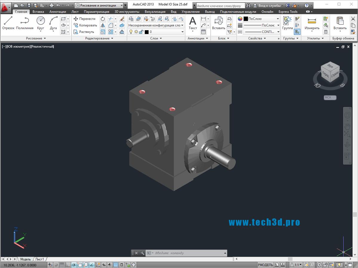 3D модель редуктора червячного углового