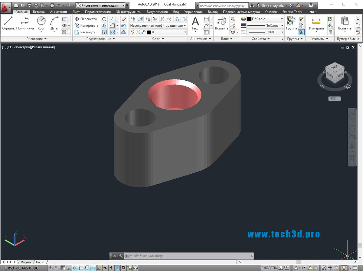3D модель овального фланца для насоса