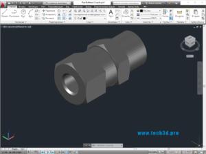 3D модель муфты соединительной труба-труба металлическая