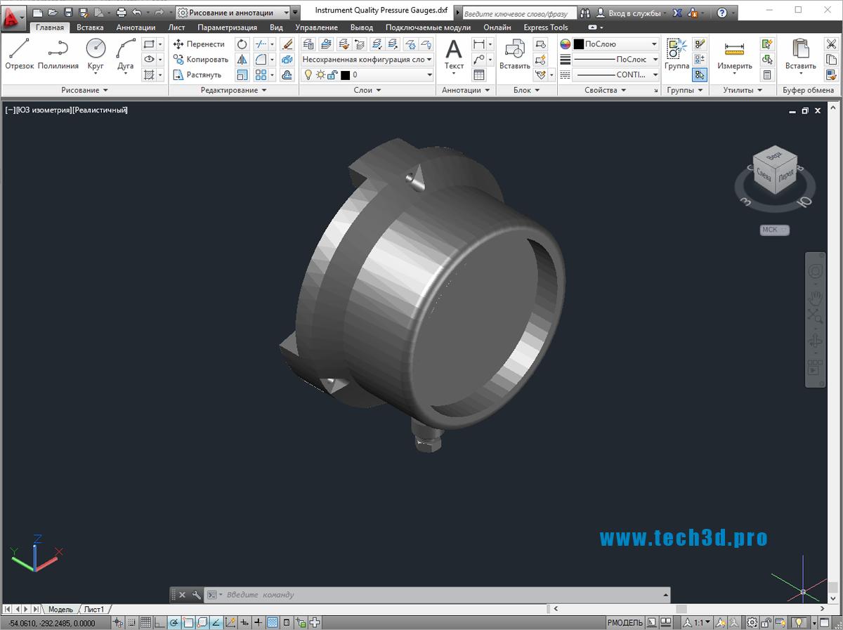 3D модель манометра щитового