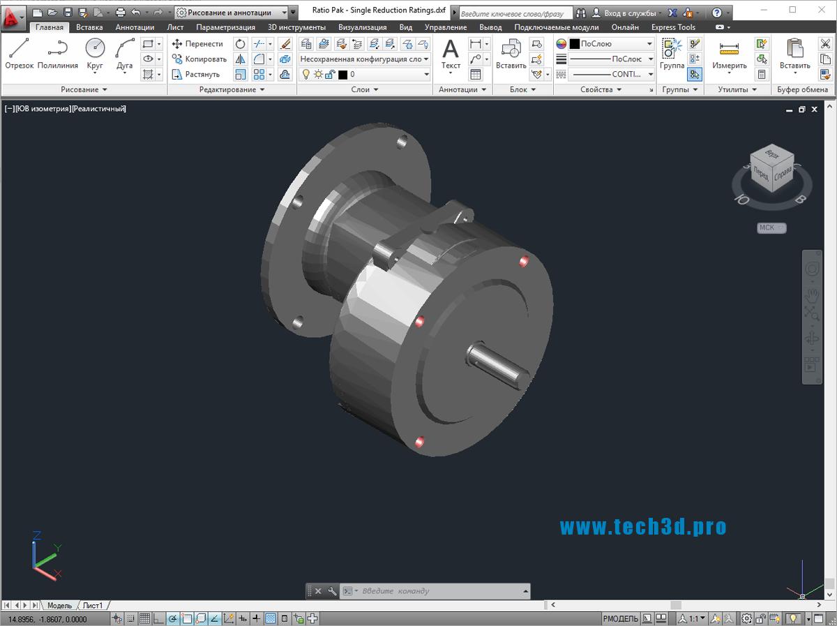 3D модель редуктора винтовой передачи