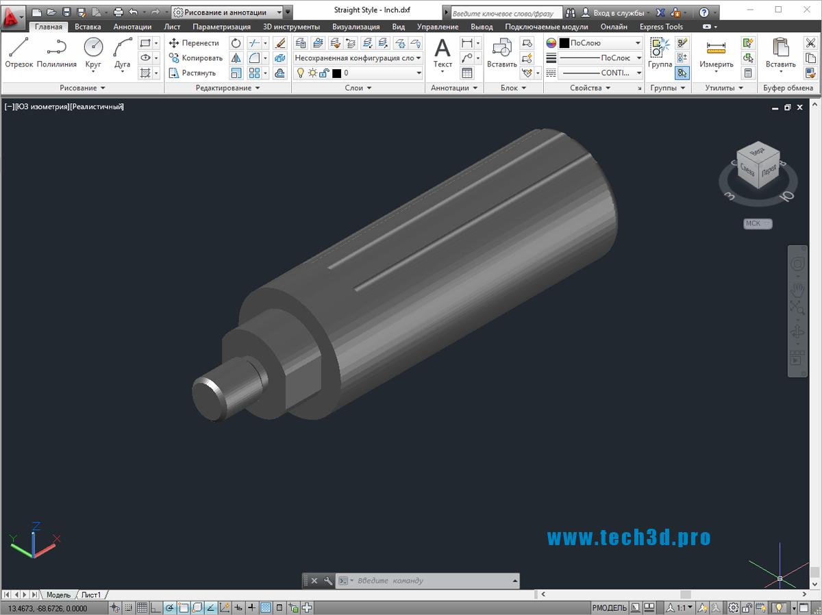 3D модель ручки зажимной высокой