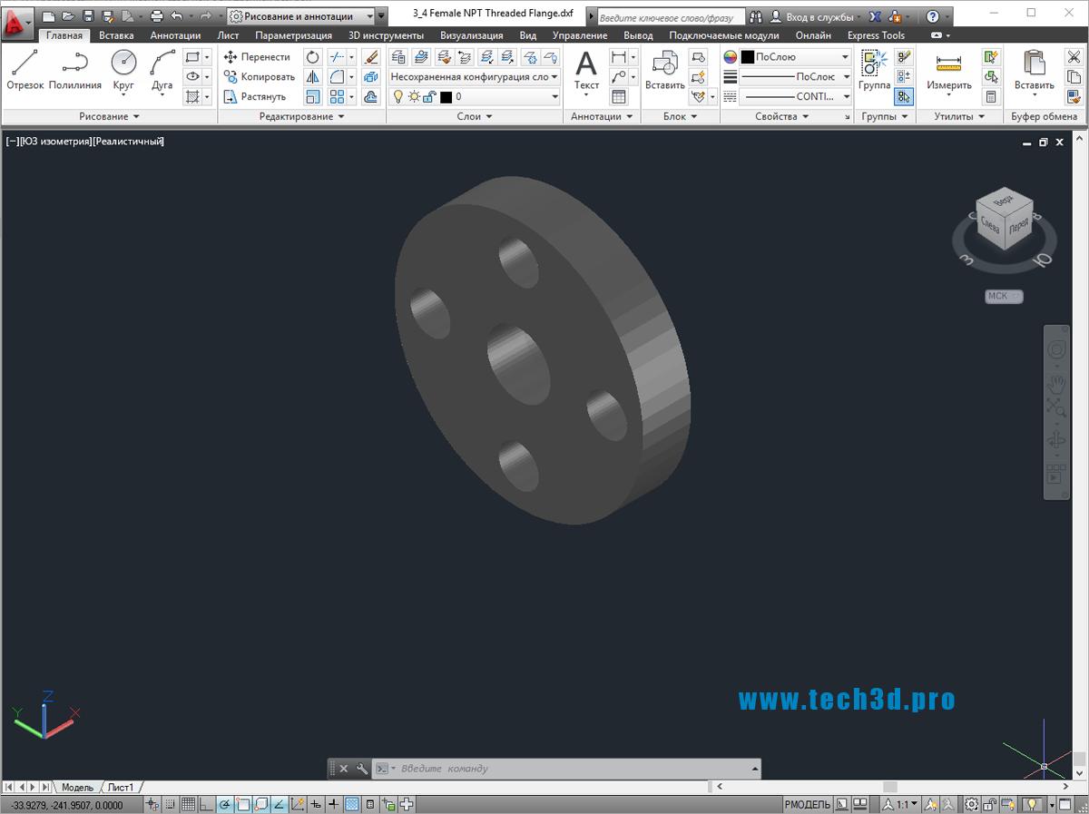 3D модель фланца стальной с внутренней резьбой