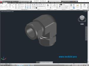 3D модель фитинга 90 градусов с гайкой