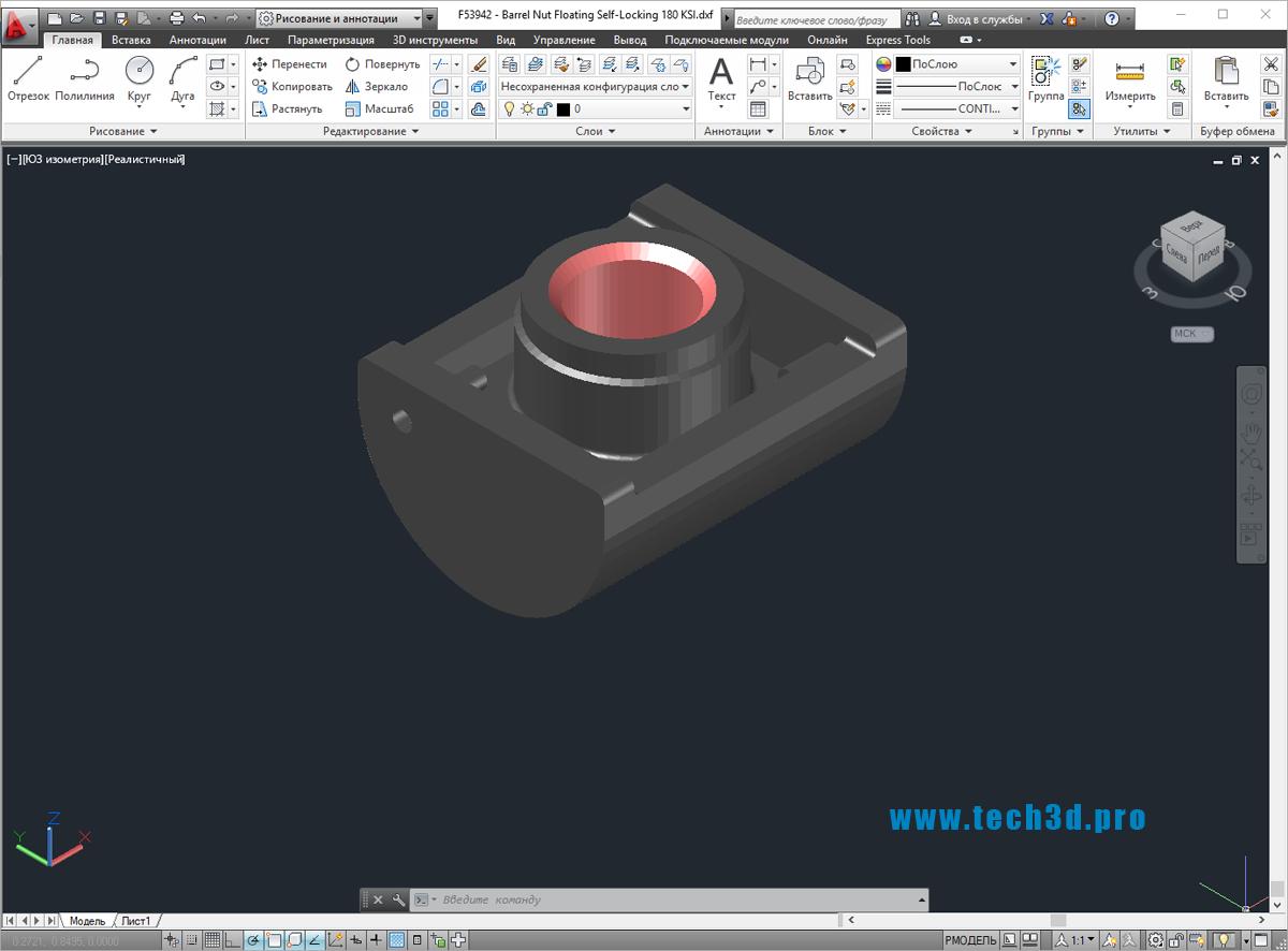 3D модель гайки-штифта