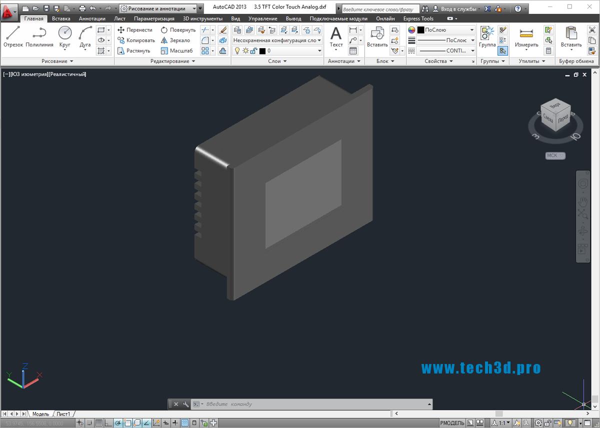 3D модель промышленных TFT панелей