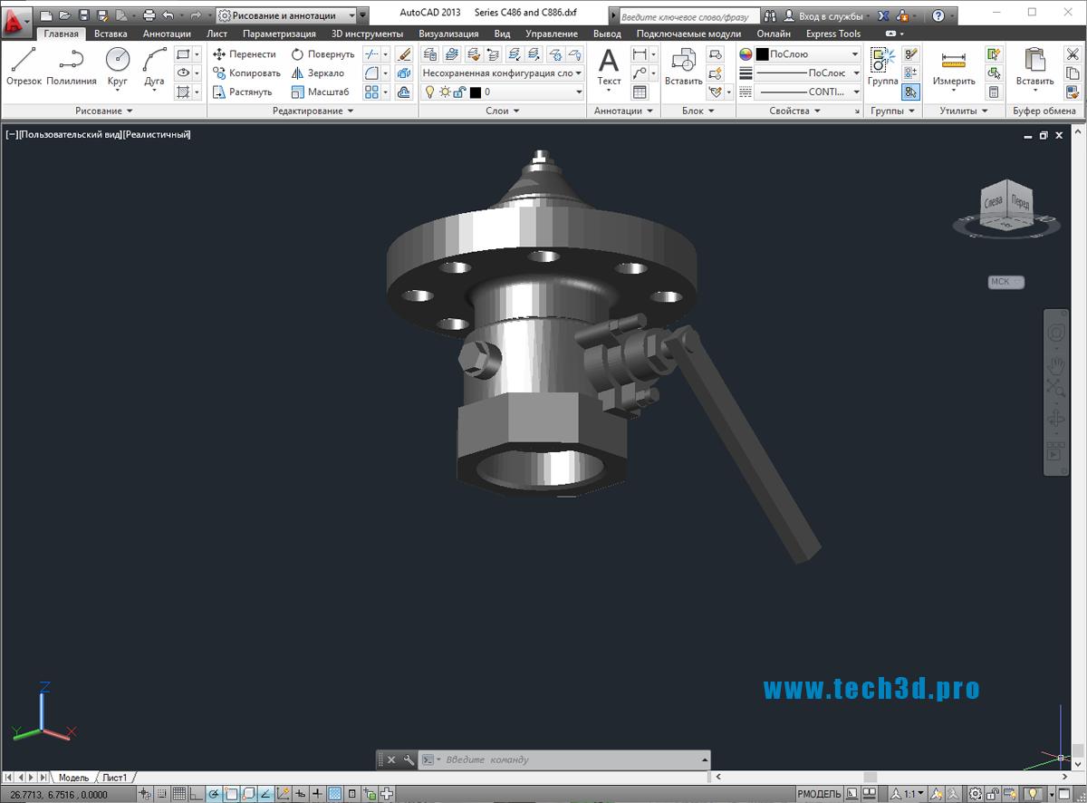 3D модель шиберного затвора для канализации