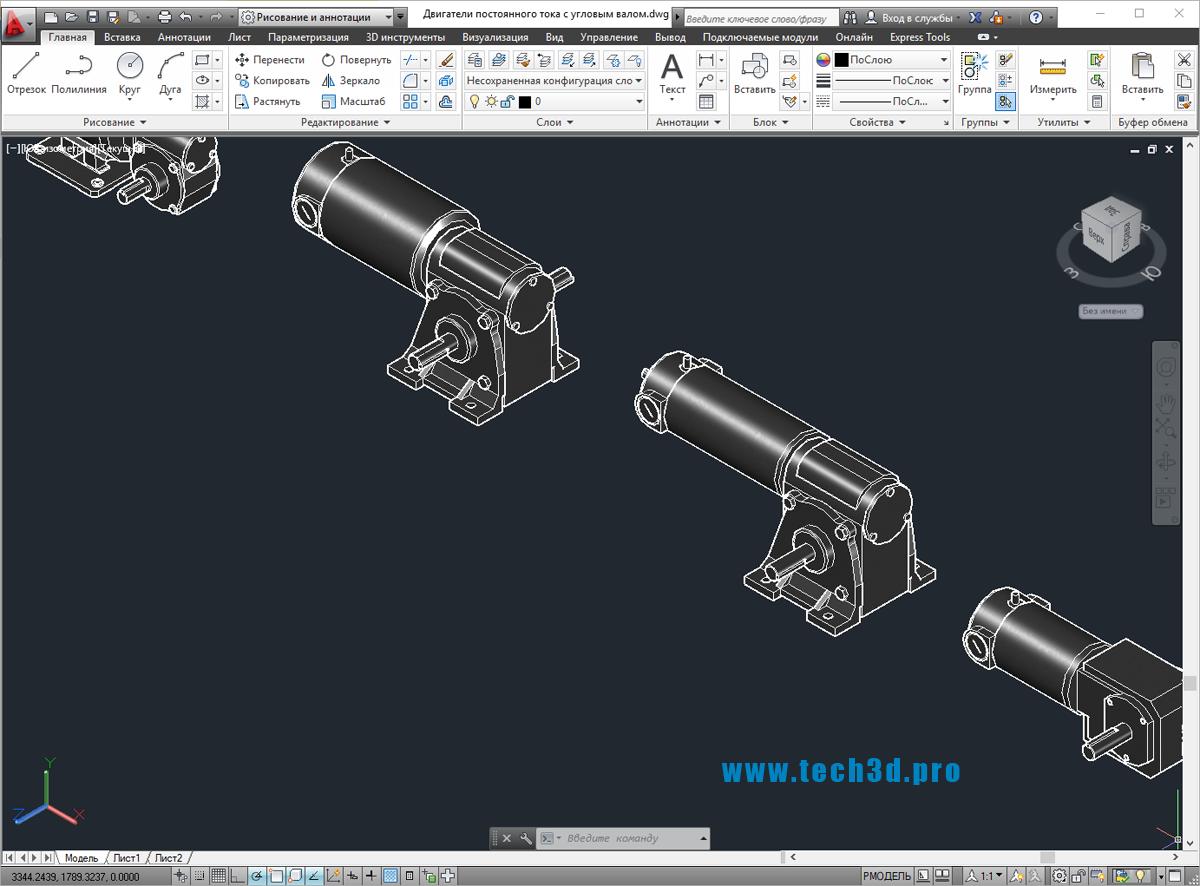 3D модели двигателей постоянного тока с угловым валом