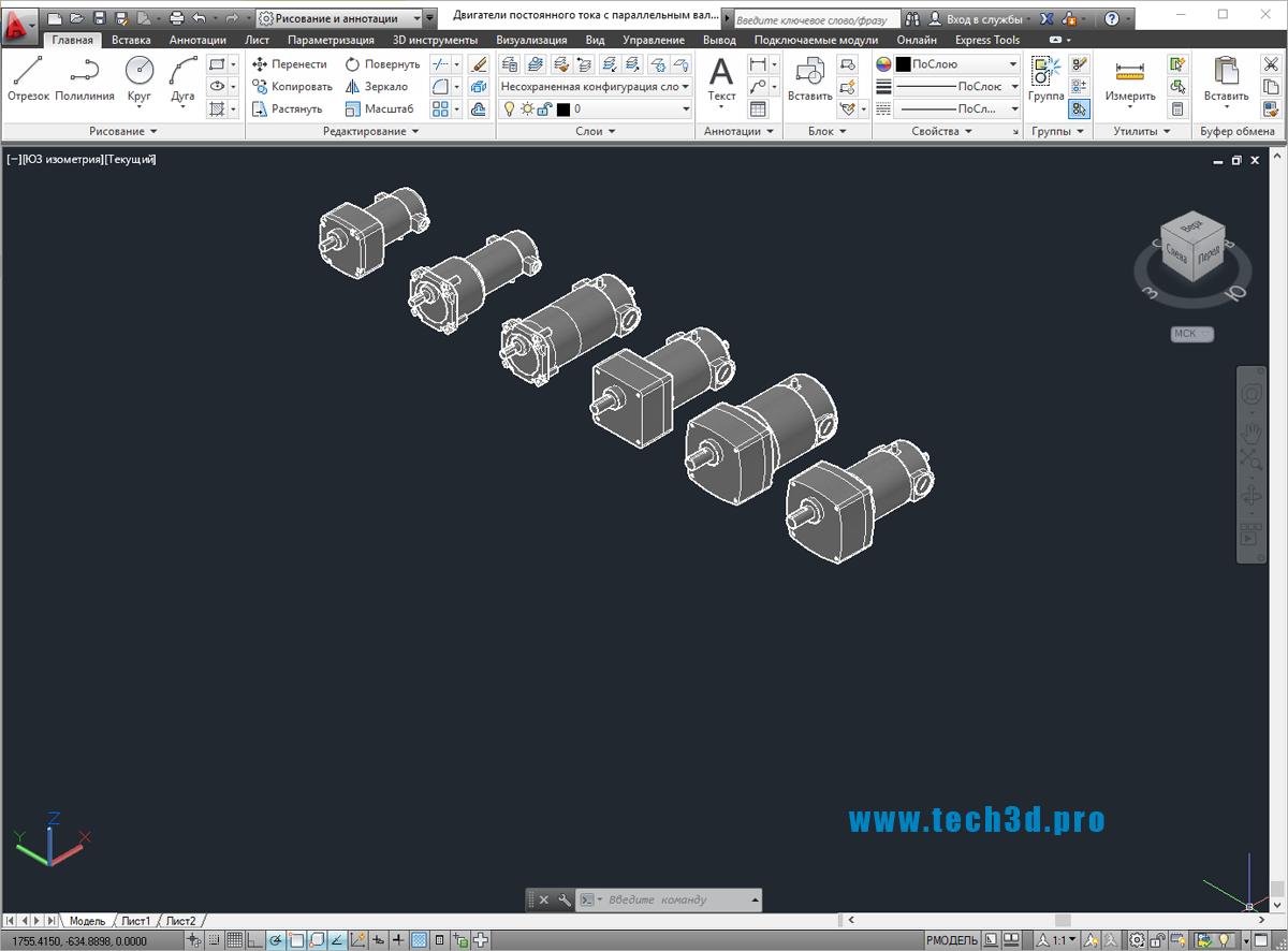 3D модели двигателей постоянного тока с параллельным валом