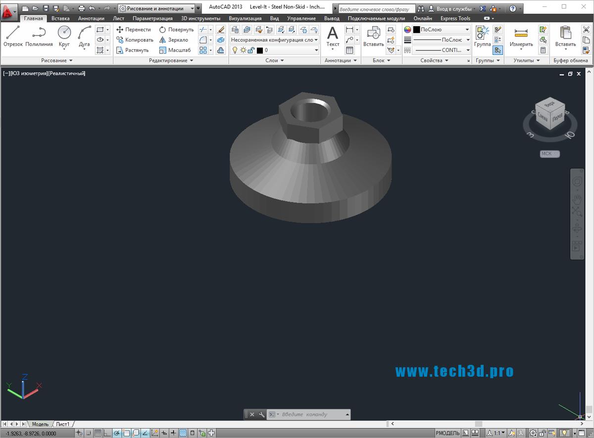 3D модели подножек с резьбой