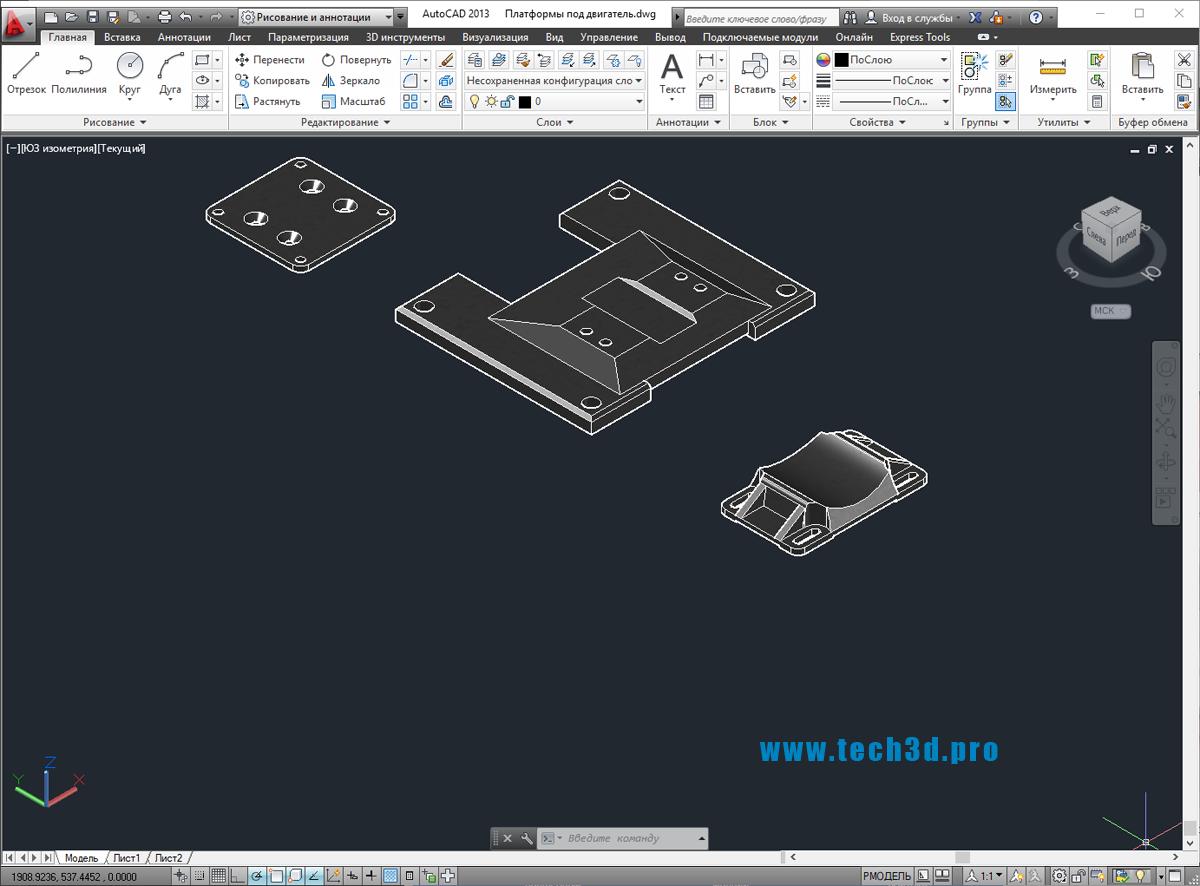 3D модели платформ под двигатель