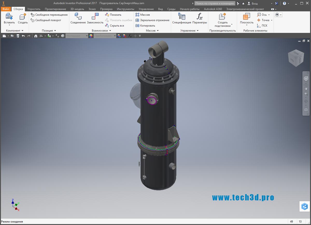 3D модель подогревателя СарЭнергоМаш