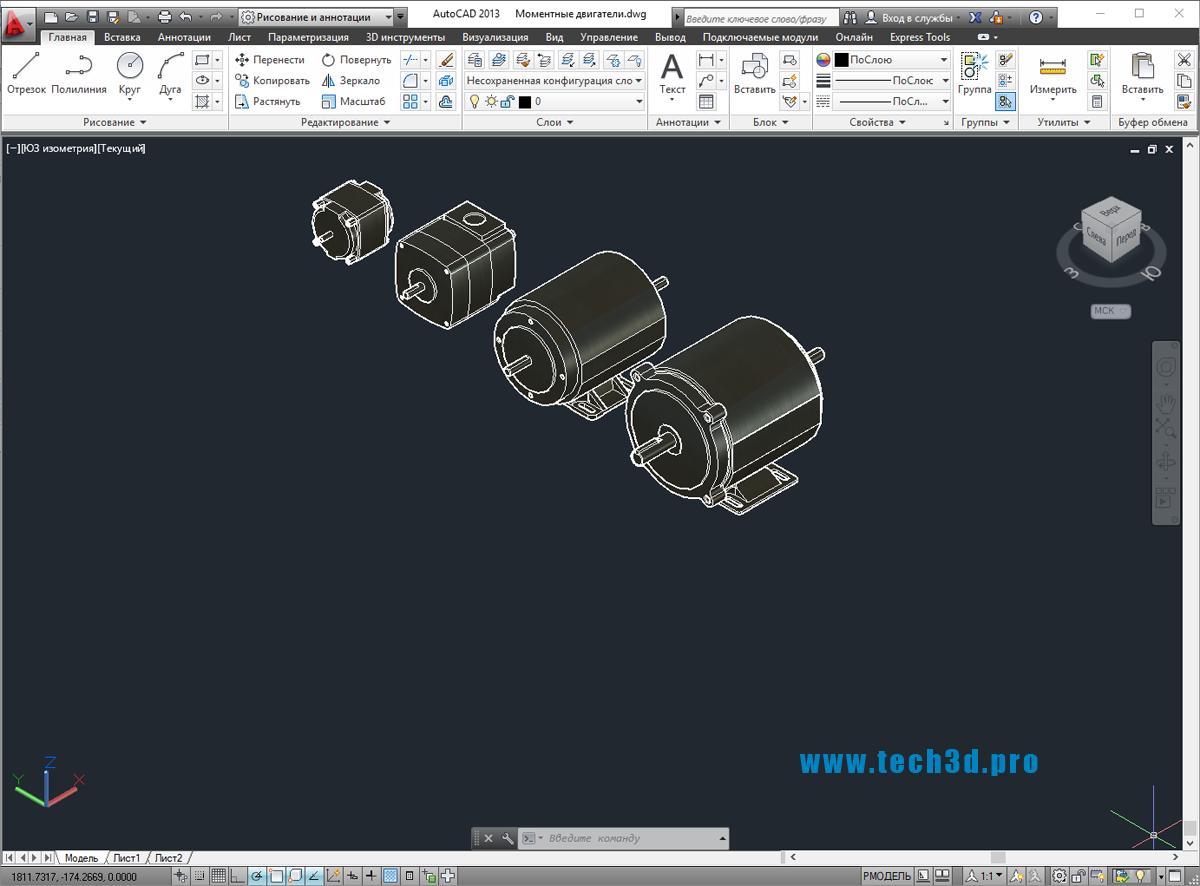 3D модели моментных двигателей