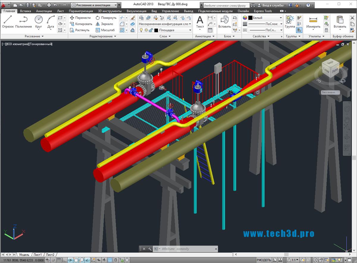 3D модель узла ввода ГВС