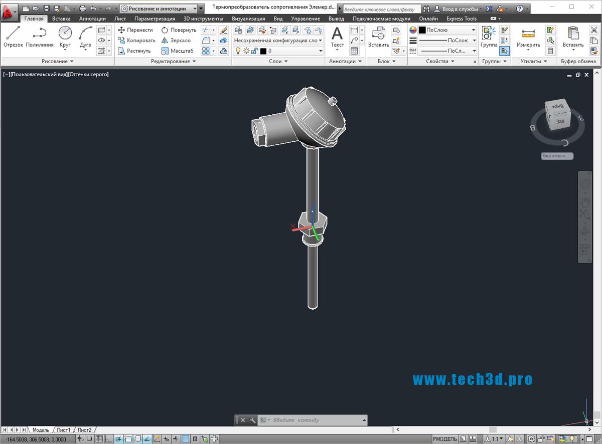3D модель термопреобразователя сопротивления Элемер