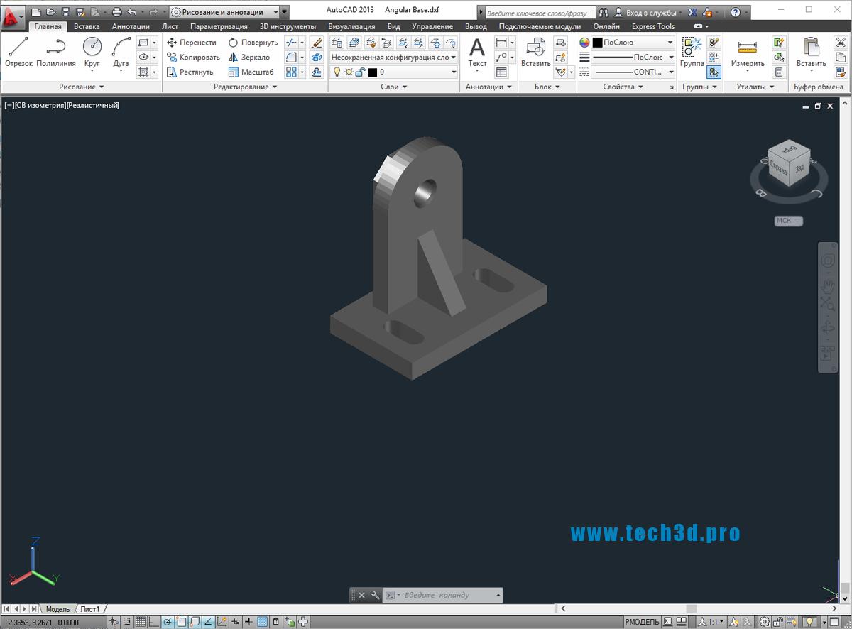 3D модель углового натяжителя