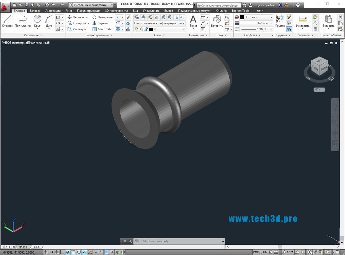 3D модели заклепок резьбовых с потайным бортом