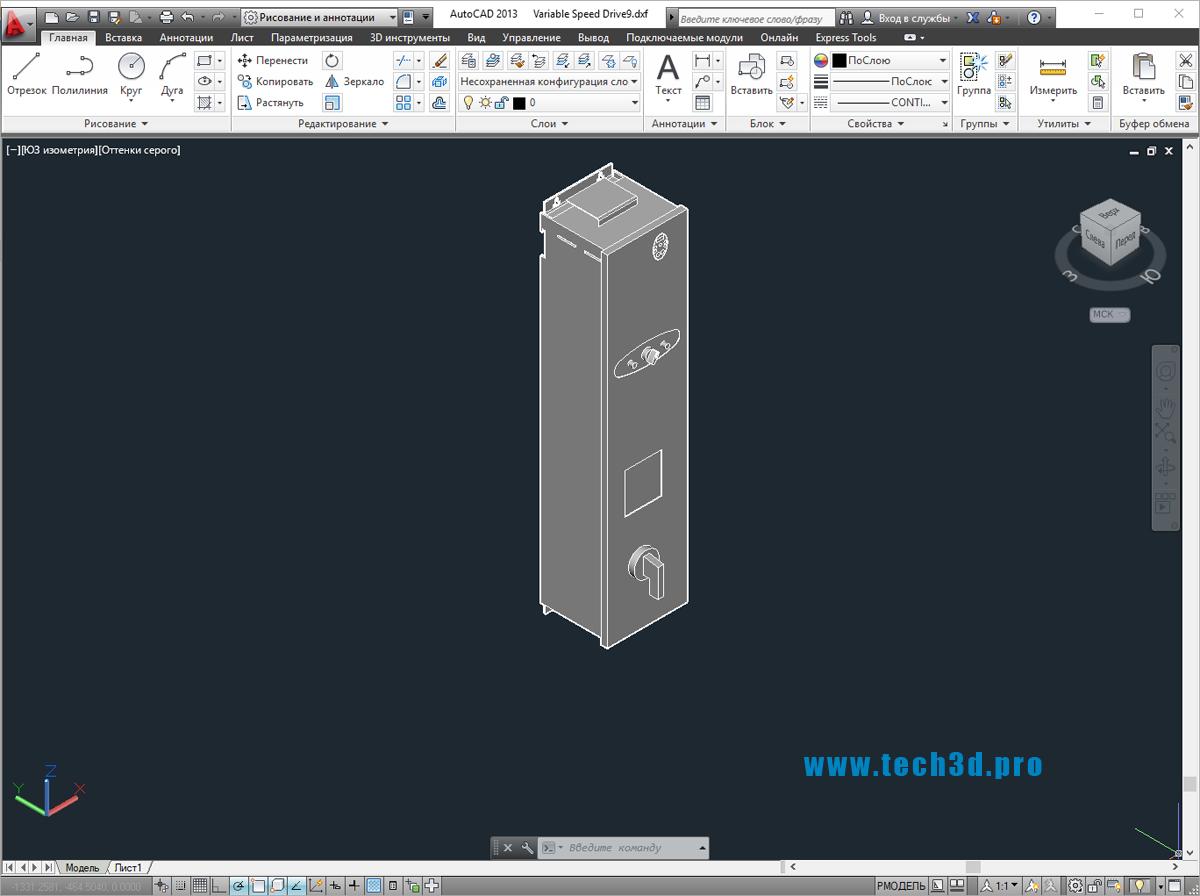 3D модель устройства плавного пуска асинхронного электродвигателя