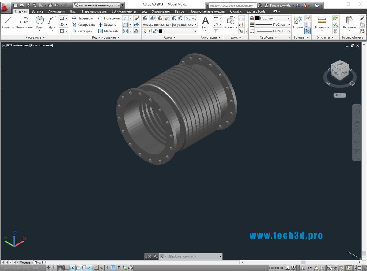 3D модели компенсаторов сильфонных фланцевых