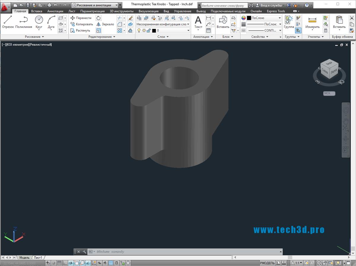 3D модели ручка-барашек с гайкой