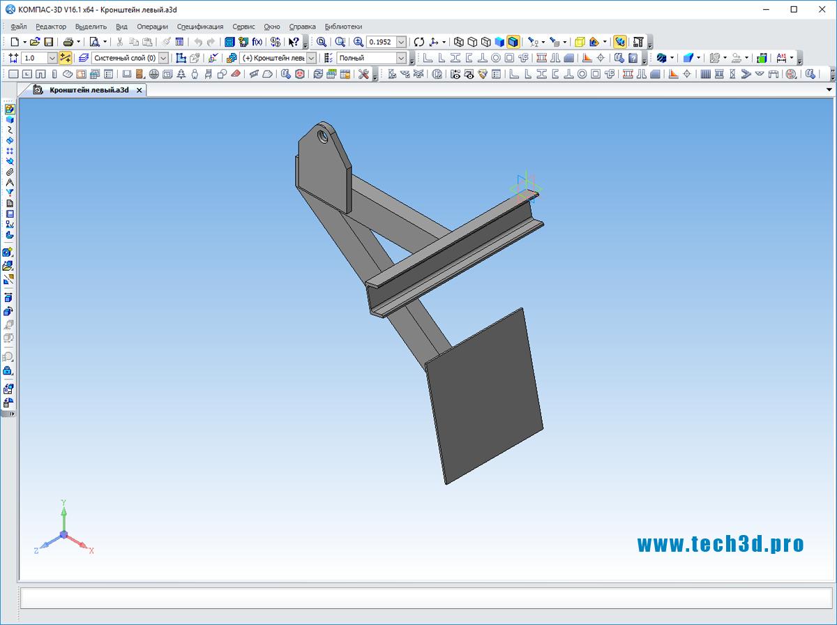 3D модель кронштейна для крепления воздуховодов