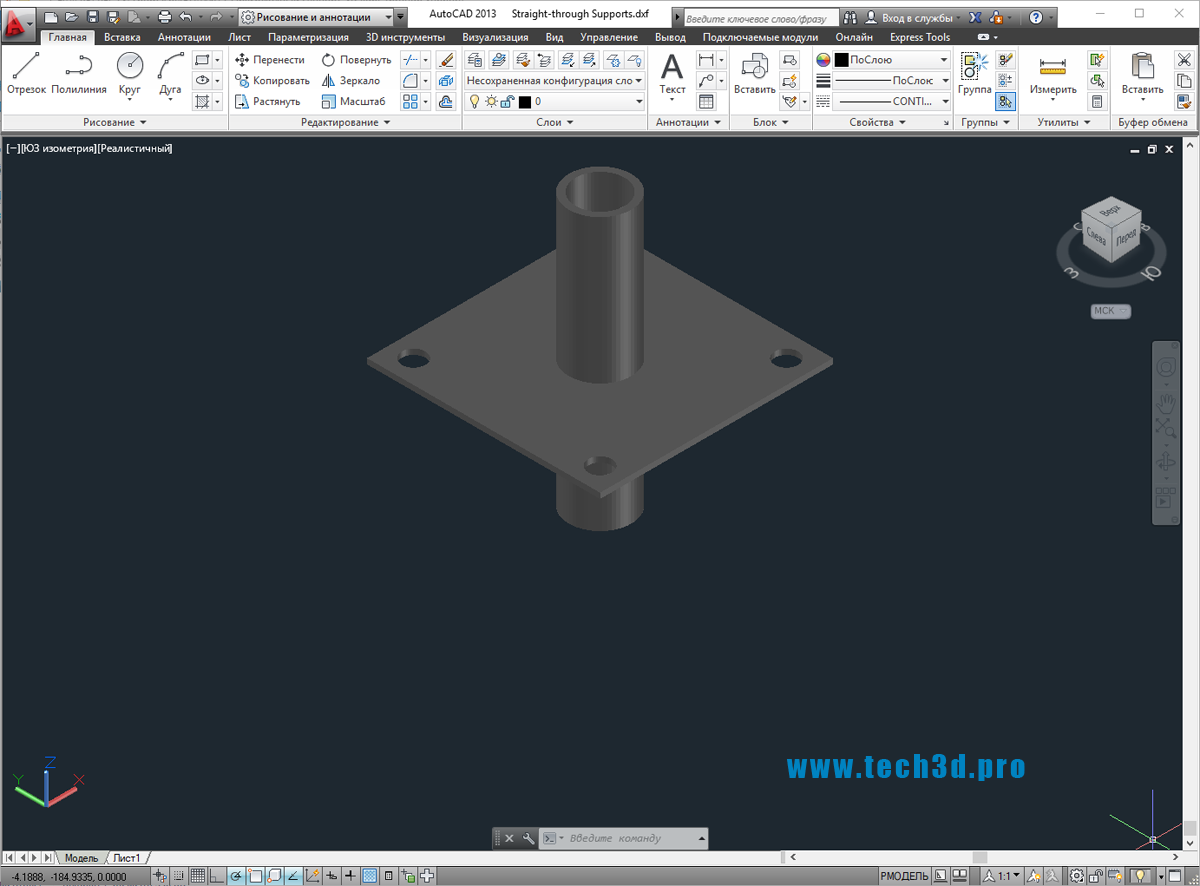 3D модель трубной проходки