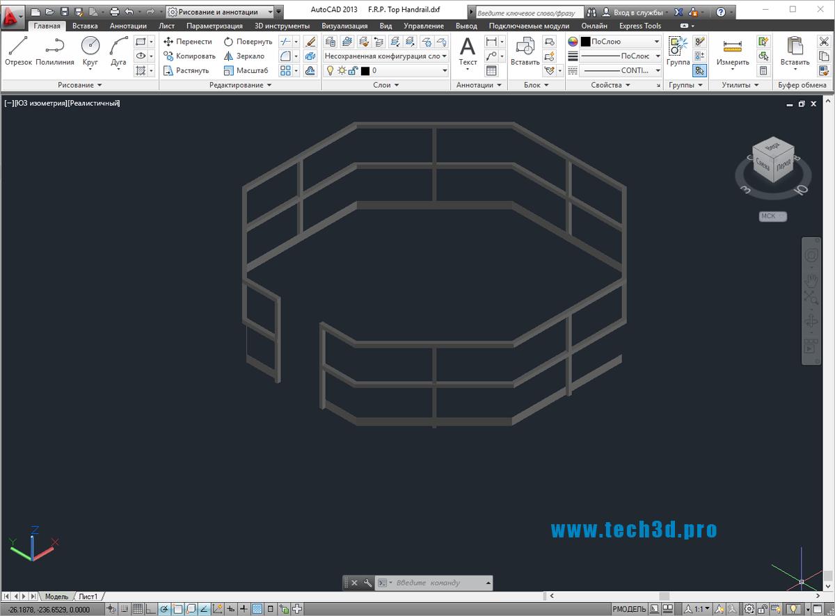 3D модель ограждения шестигранником