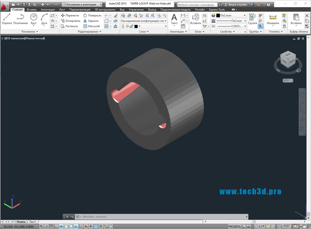 3D модель втулки сварной