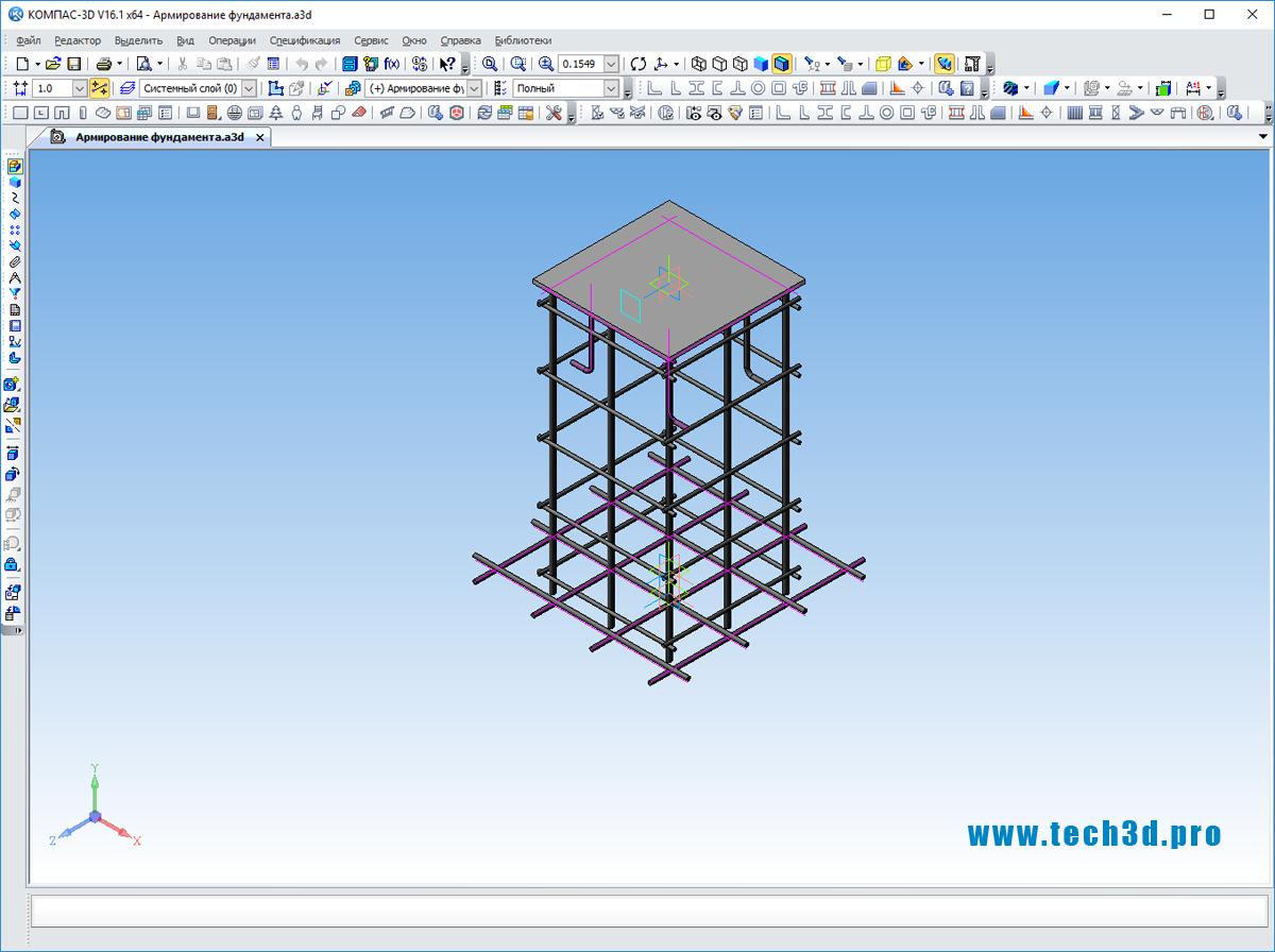 3D модель чертежа армирования фундамента