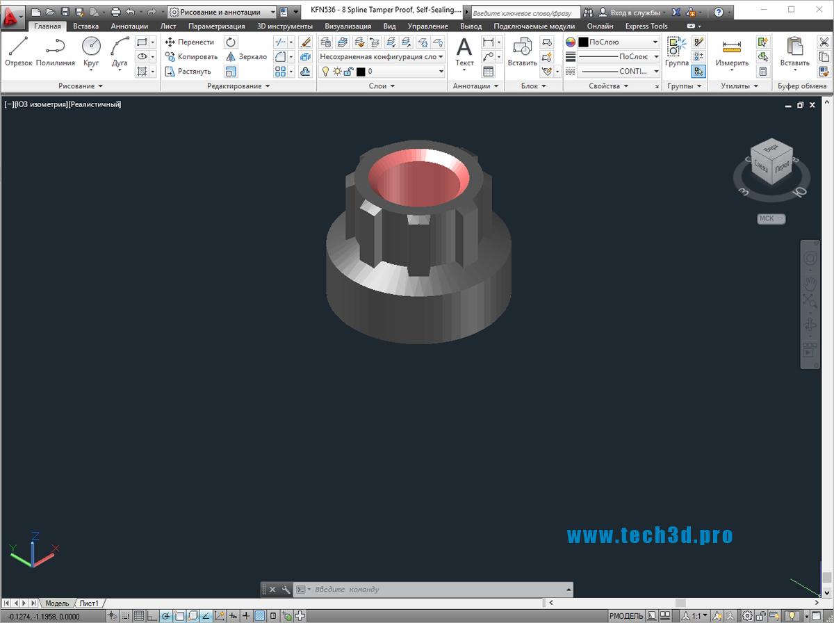 3D моделигаек восьмигранных