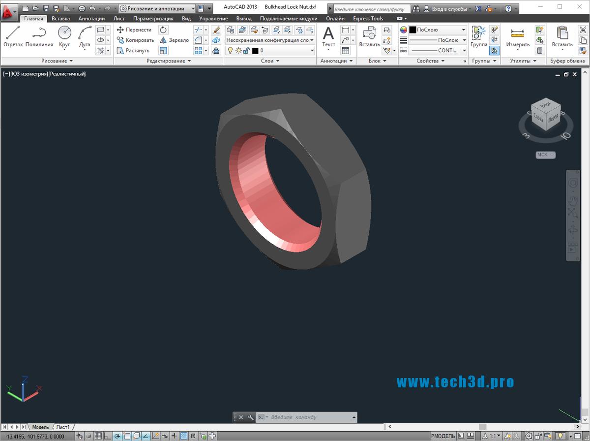 3D модели гаек проходного фитинга