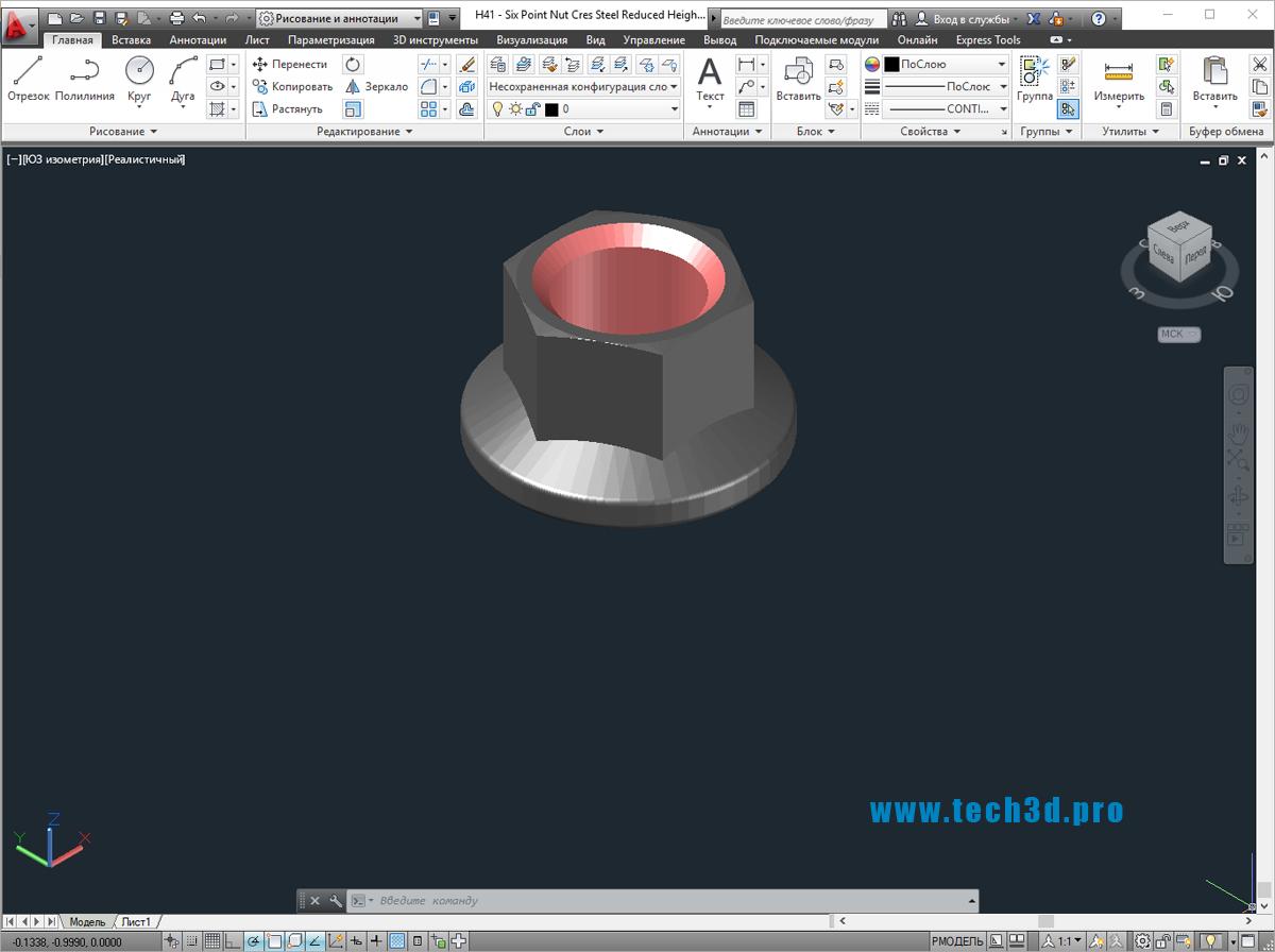 3D модель гайки шестигранной с фланцем низкой