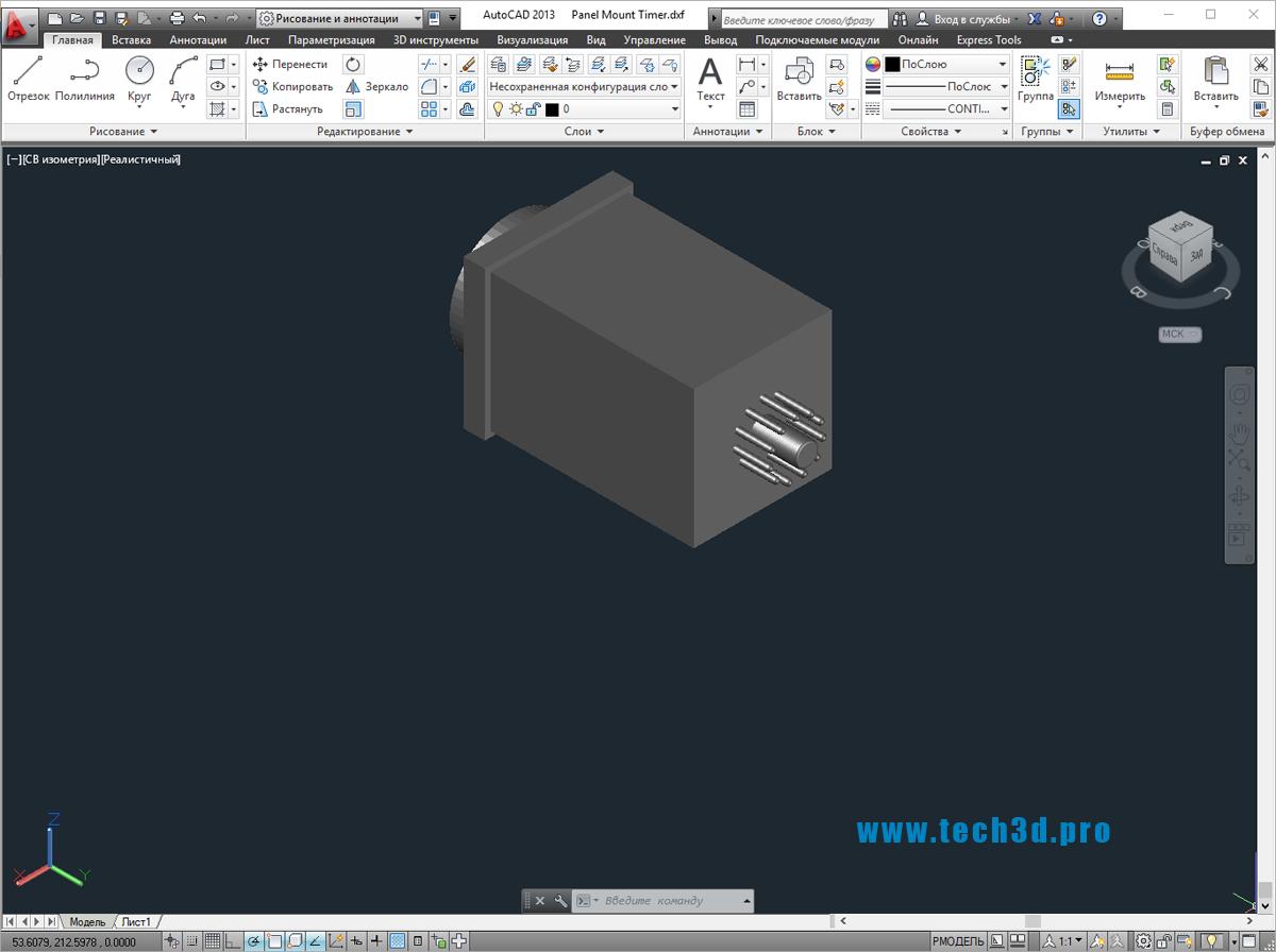 3D модель реле-таймера на панель