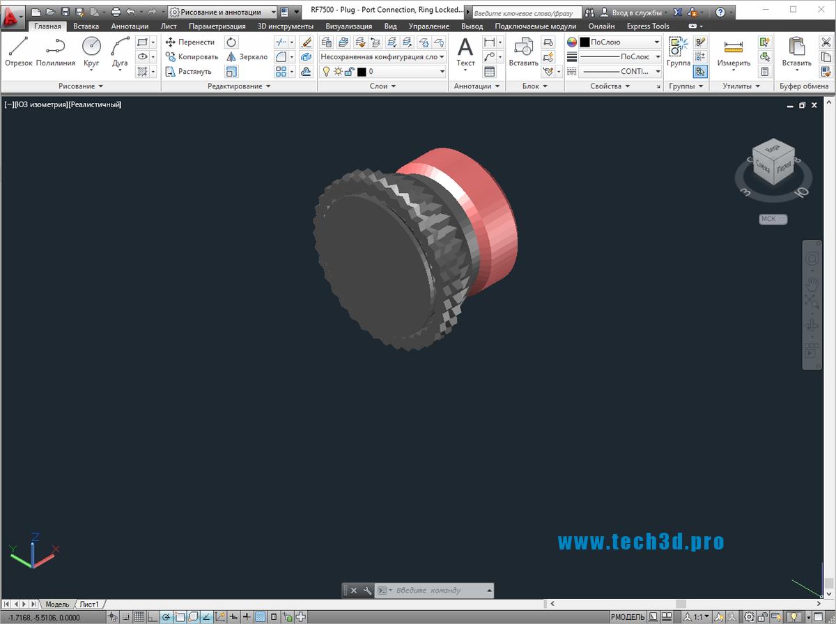 3D модель заглушки самозатягивающейся
