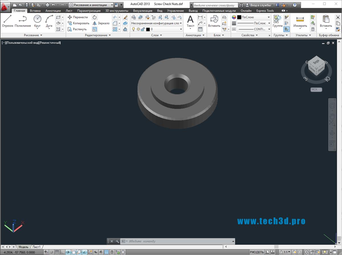 3D модель гайки-винт круглой