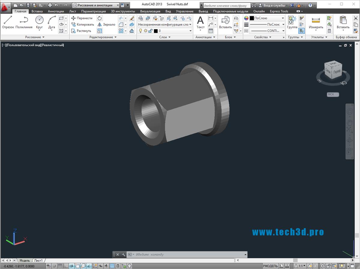 3D модель гайки высокой поворотной