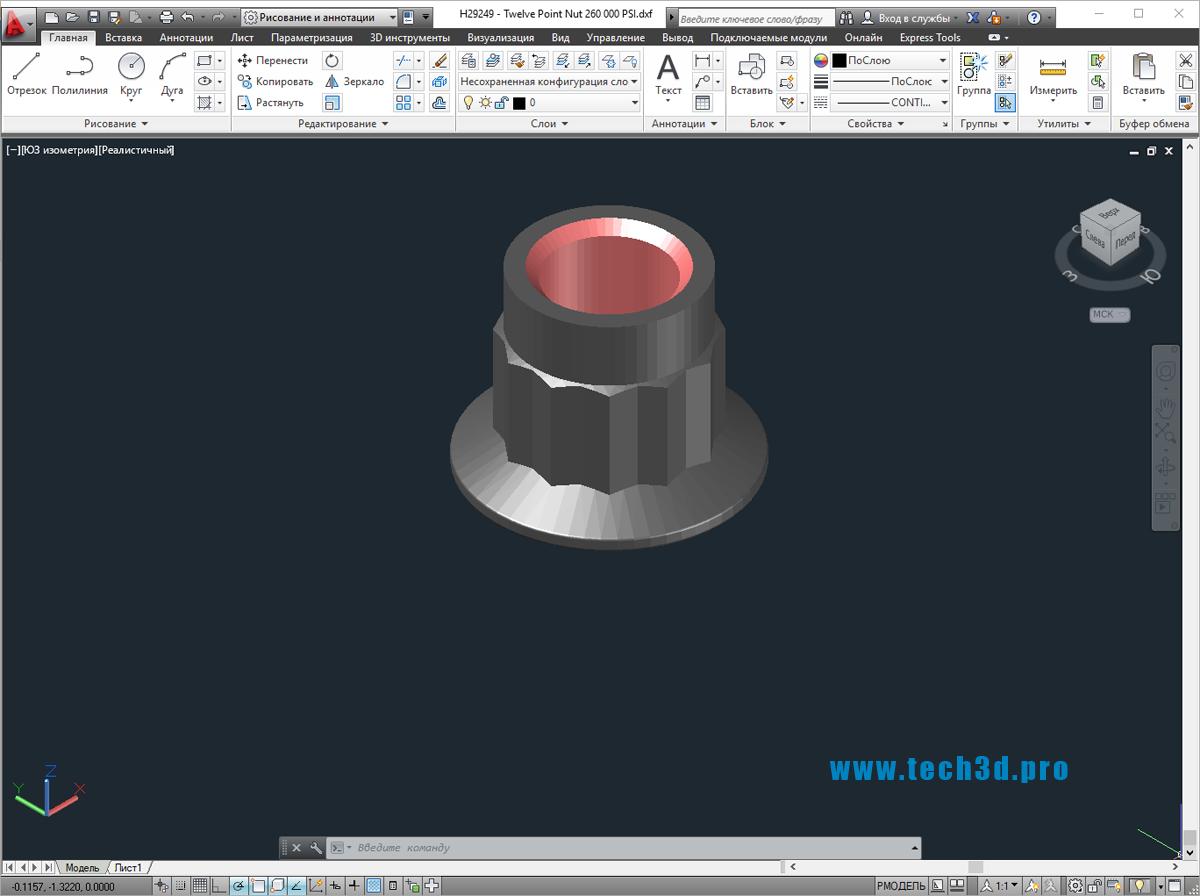 3D моделигаек двенадцатигранных
