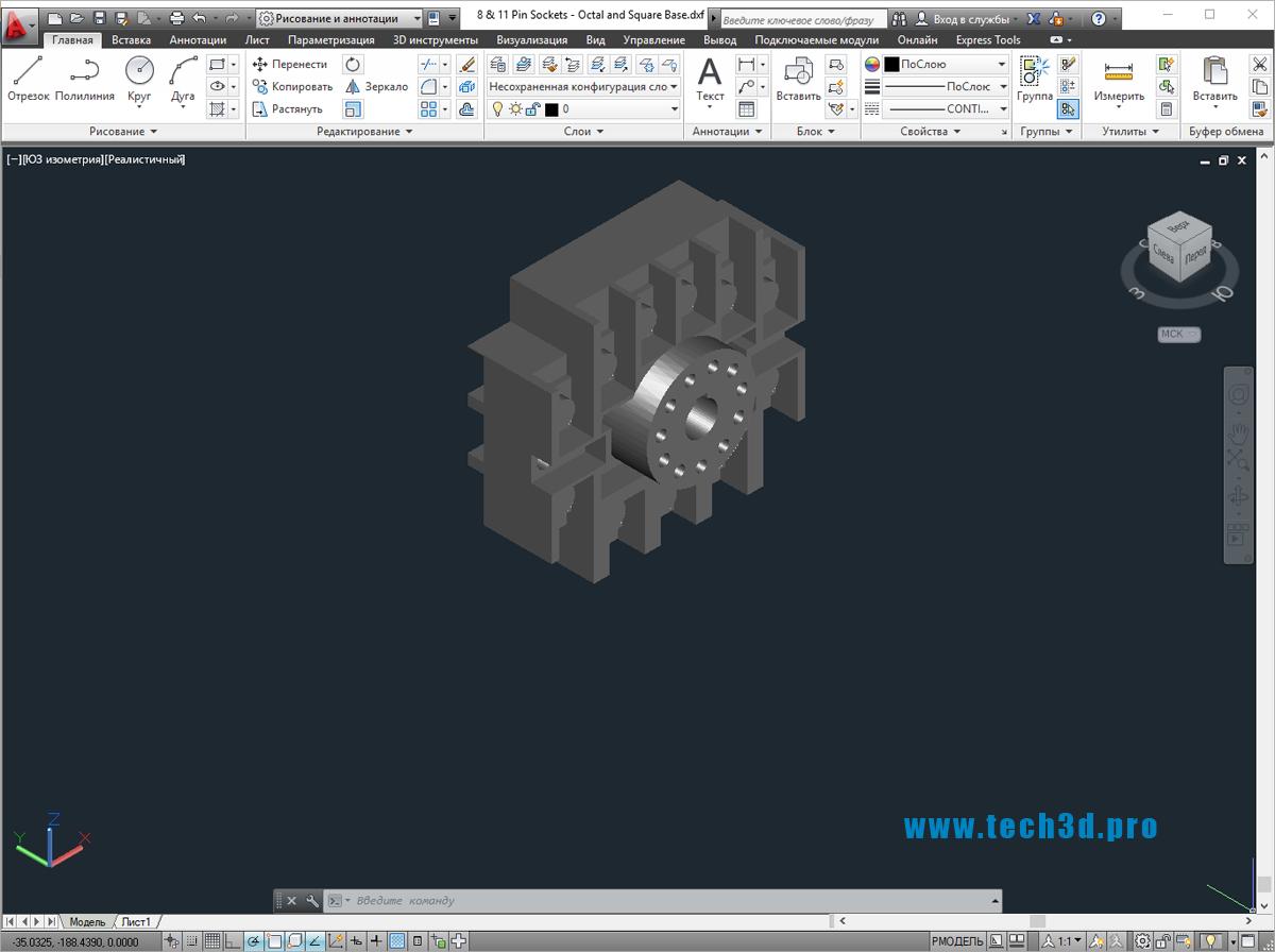 3D модель розетки 8 pin