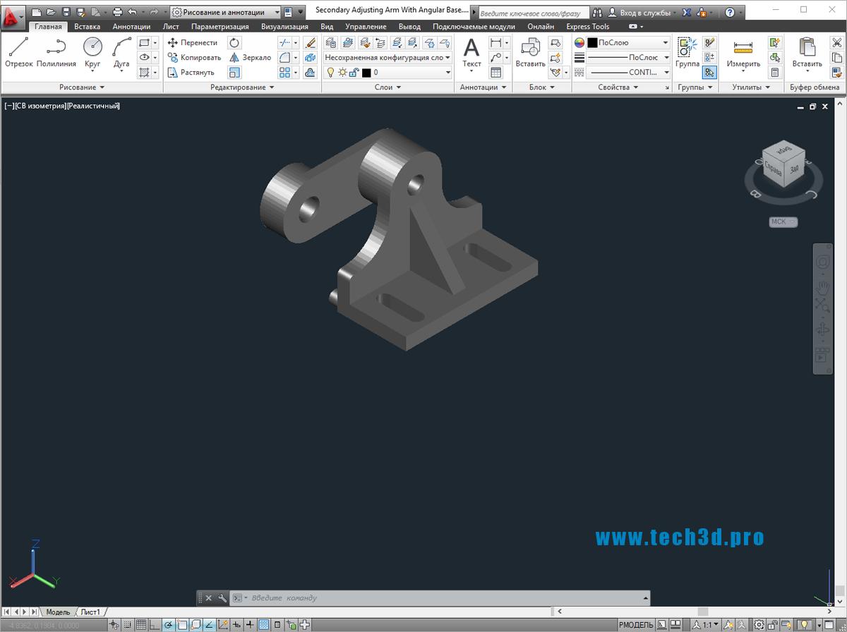 3D модель механизма ручной лебедки