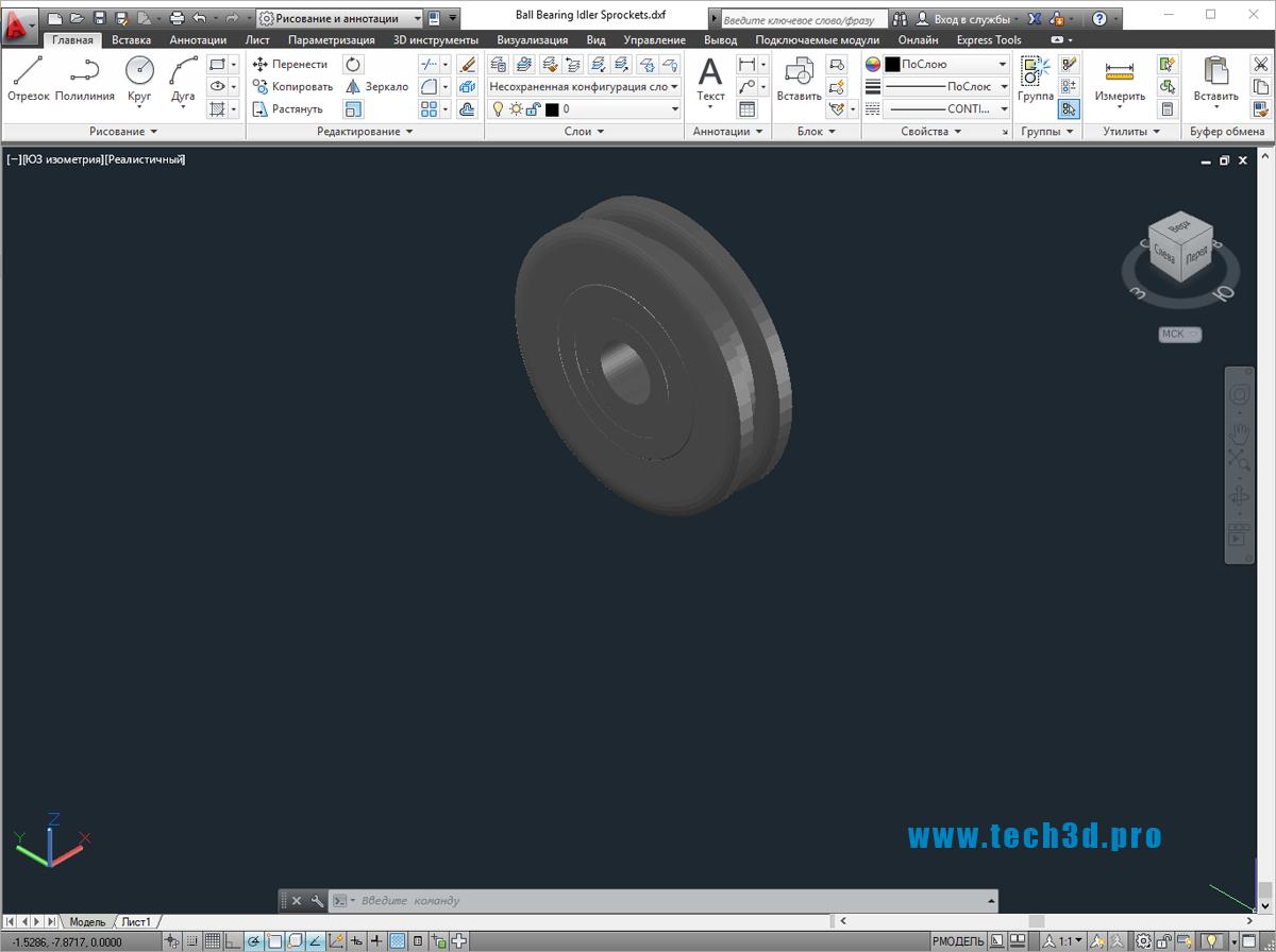 3D модель промежуточной шестерни привода