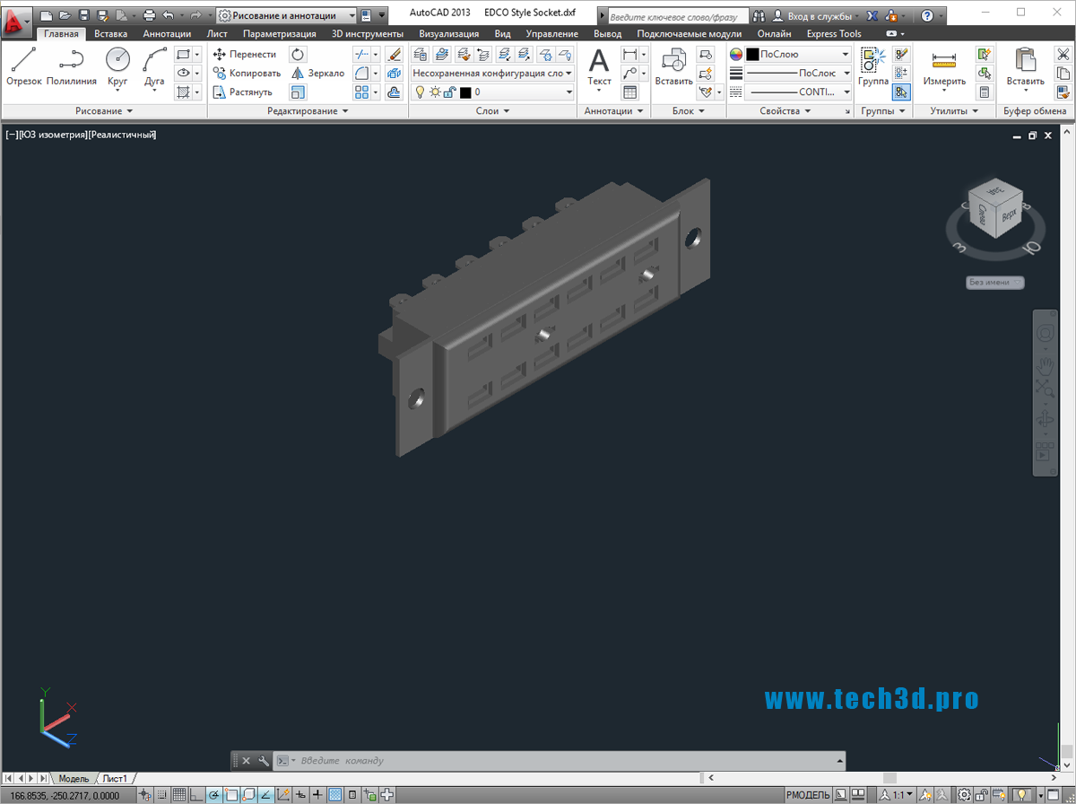 3D модель разъема IDC