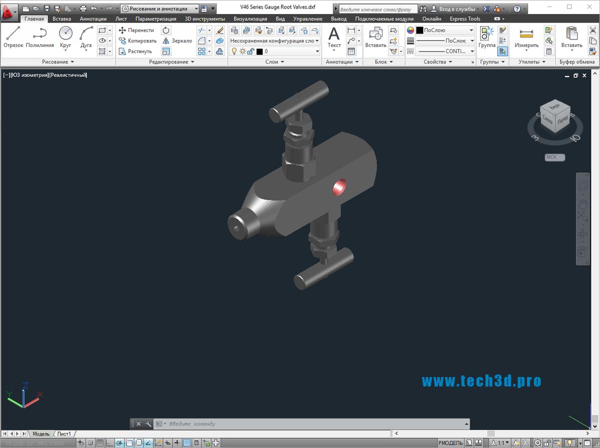 3D модель вентиля игольчатого для манометров