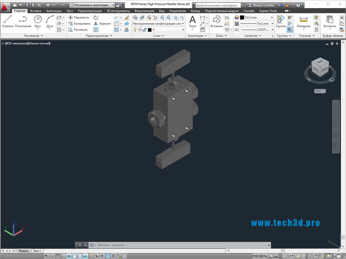 3D модели клапанов игольчатых высокого давления